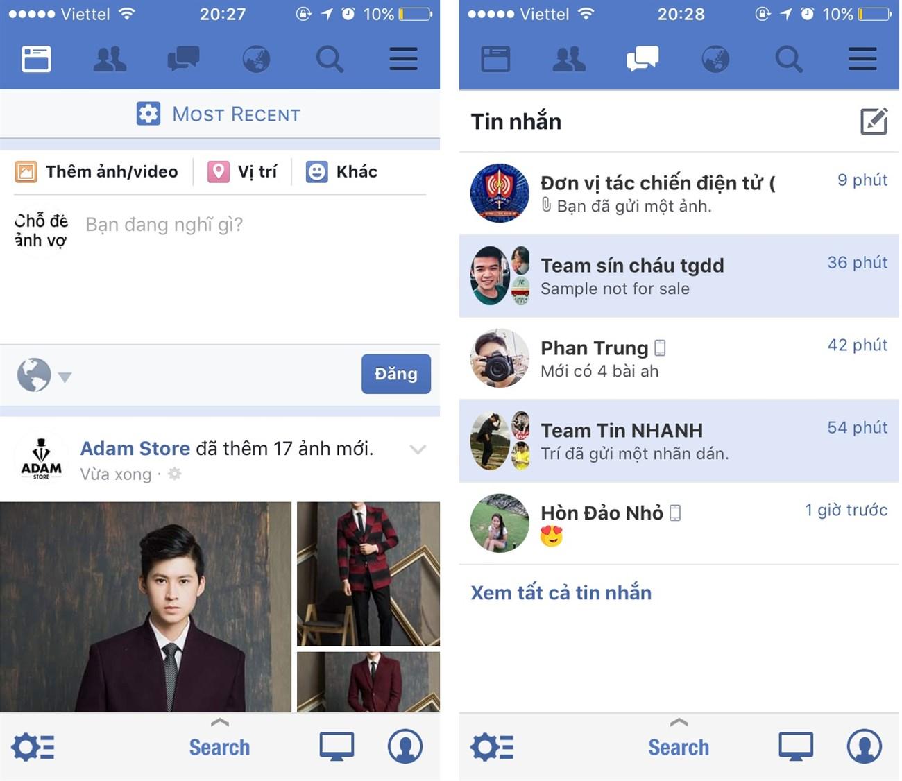 mẹo nhỏ gộp facebook và messenger
