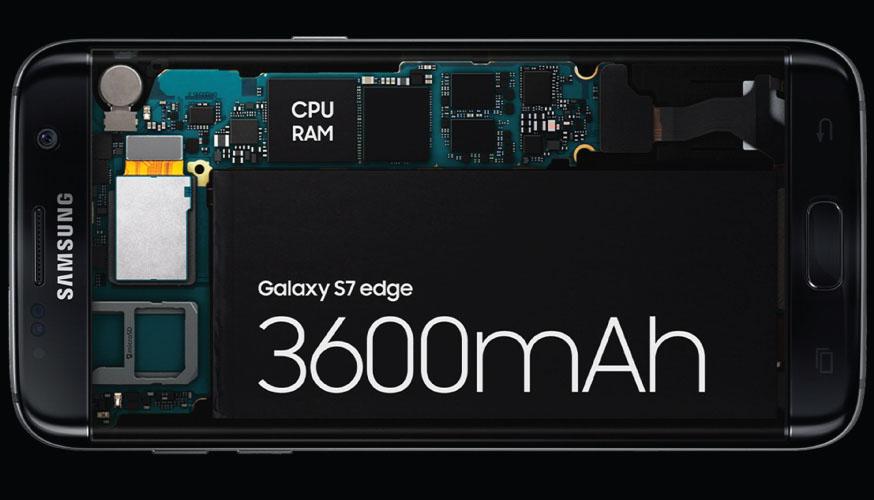 Viên pin của Galaxy S7 Edge có dung lượng lên đến 3600mAh, kết hợp nền tảng Android 6.0 và vi xử lý tiết kiệm điện năng giúp máy có thời lượng pin có thể lên đến 2 ngày.