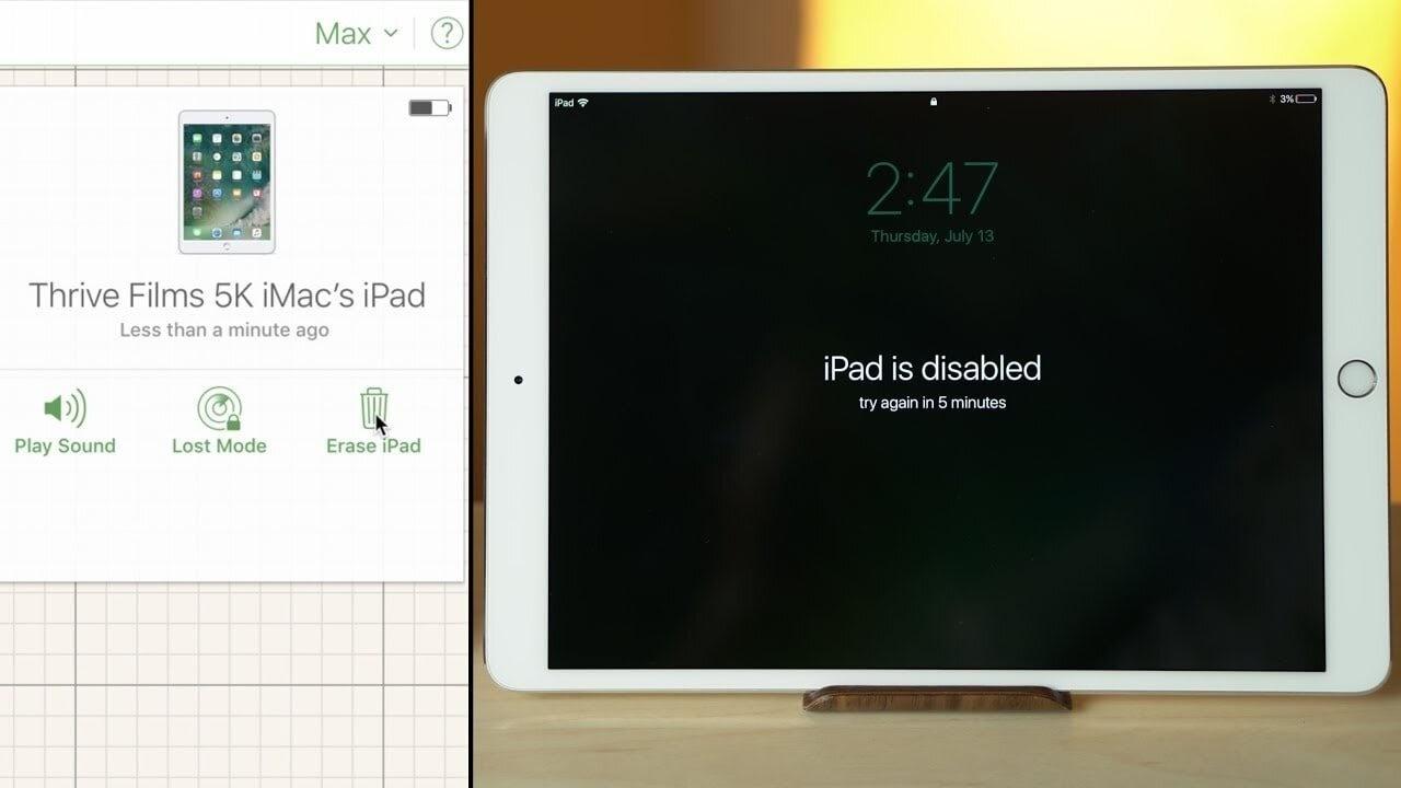 Nhập sai mật khẩu quá nhiều lần hay phiên bản iPad đã quá cũ